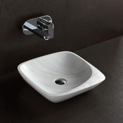 White Marble Natural Stone Counter Top Square Basin 'Maya' For Modern Luxury Bathrooms