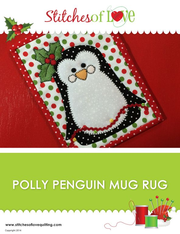 Polly Penguin Mug Rug by Brittany Love | Quilting Pattern - Looking for your next project? You're going to love Polly Penguin Mug Rug by designer Brittany Love. - via @Craftsy