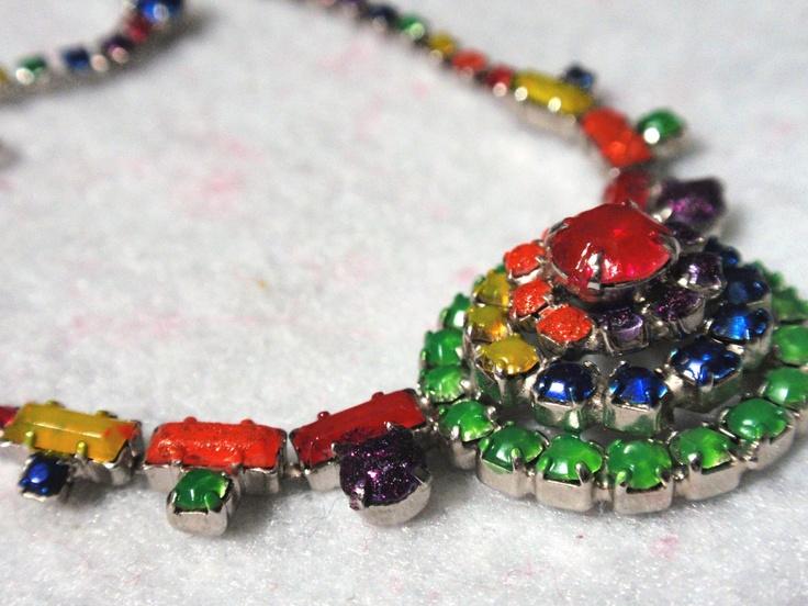 Vintage Refurbished Rainbow Rhinestones Choker Necklace. $20.50, via Etsy.: Totally Unique, Vintage Refurbished, Rhinestones Choker, Store Totally, Refurbished Rainbow, Unique Treasures, Rainbow Rhinestones