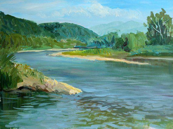River Nature Painting Original Oil Plein Air Landscape Etsy Plein Air Landscape Nature Paintings Landscape Paintings
