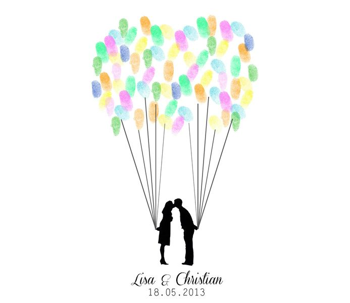 wedding tree ballons fingerabdr cke als g stebuch von. Black Bedroom Furniture Sets. Home Design Ideas