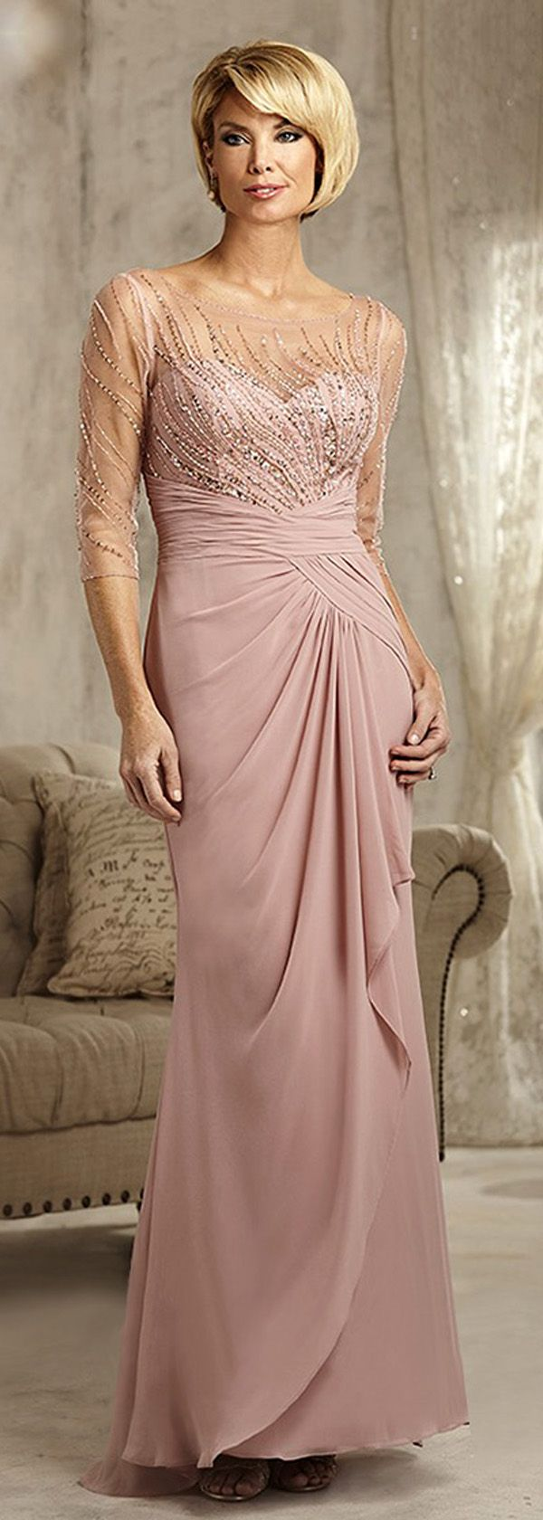 mother of the bride dresses mothers dress for wedding Exquisite Tulle Chiffon Scoop Neckline Sheath Mother Of The Bride Dresses With Beadings