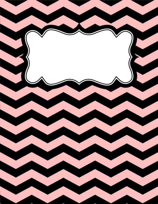 Free printable pink and black chevron binder cover template. Download the cover in JPG or PDF format at http://bindercovers.net/download/pink-and-black-chevron-binder-cover/