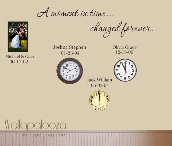 Family Wall Decal - Custom Wall Decal - A Moment In Time changed forever with set of names and dates
