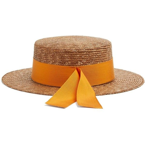 Federica Moretti Ribbon Embellished Flat Top Straw Hat 105 Liked On Polyvore Featuring Accessories Hats Rib Embellished Flats Summer Straw Hat Crown Hat