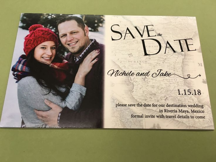 Take a peek at these magnetic save-the-dates designed and printed by Rengel Printing Company for Nikki & Jake's Destination Wedding!