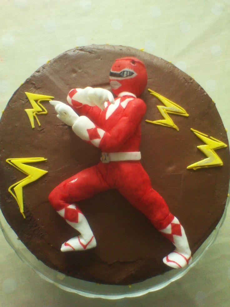Fondant Red Ranger, Power ranger cake! Mighty Morphin!!!