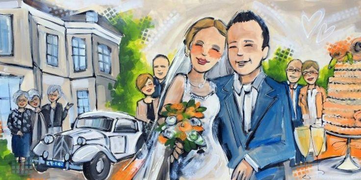 Live painting & kunst Peggy van Gurp  Schilderij bruiloft