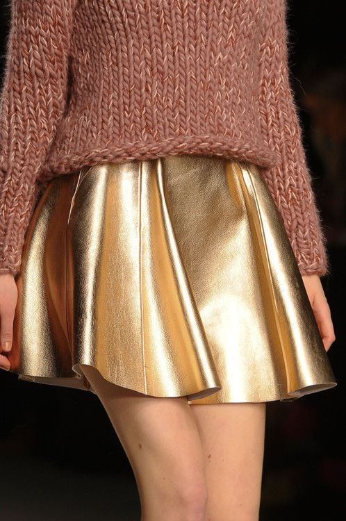 gold leather and knit
