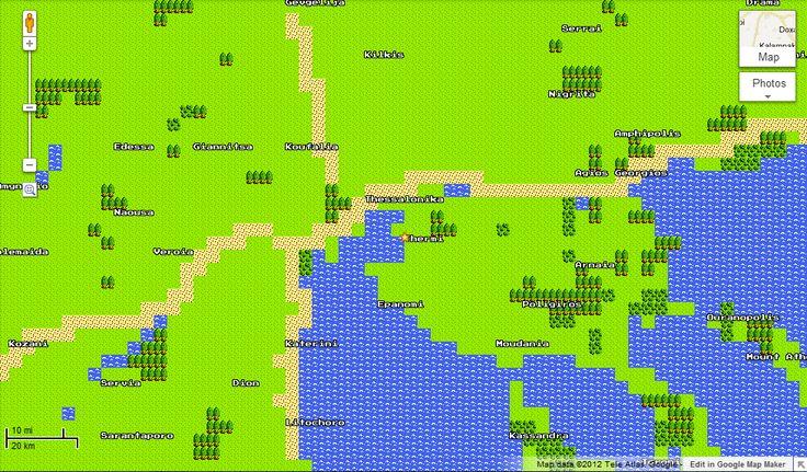 Thessaloniki in 8bit Google Maps.