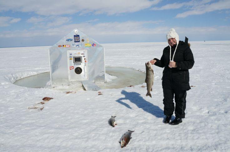 Ice fishing on lake simcoe 4 girls an ice fishing hut and for Lake simcoe fishing