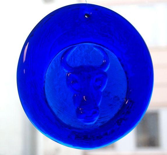 Stor blå solfanger-Erik Höglund-Boda- Suncatcher-vinduspynt