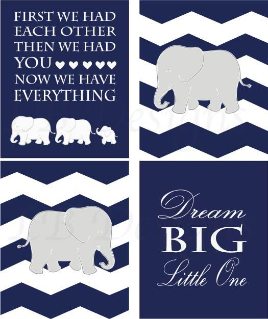 Set of 4 Navy Blue Gray and White Elephant/Jungle by LJBrodock, $35.00 Boy nursery decor, elephant nursery, pottery barn nursery, land of nod nursery, navy blue nursery, nursery art