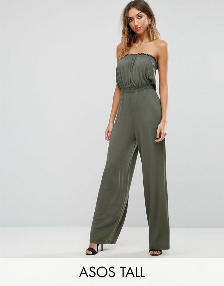 ASOS TALL Bandeau Jersey Jumpsuit with Wide Leg - Green