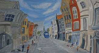 Exeter city, guild hall shops banks bus curving buildings wobbly art shoppers dog whimsical vaive painting