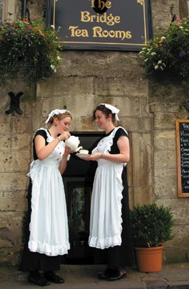 The Bridge Tea Rooms, circa 1675: Authentic Victorian Surroundings with costumed waitresses, Bradford on Avon, Wiltshire, in the UK.