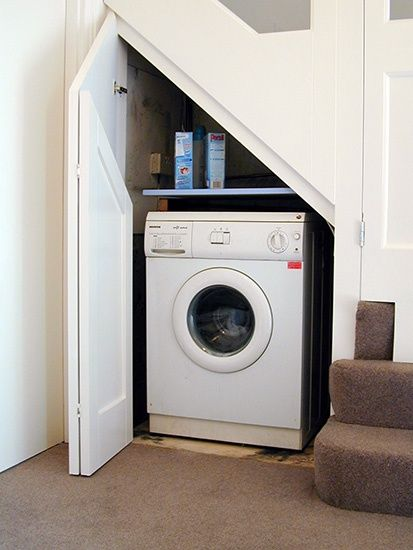 Washing machine under stairs:
