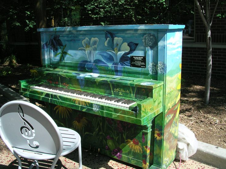 Hand painted piano by local artist in Old Town Fort Collins