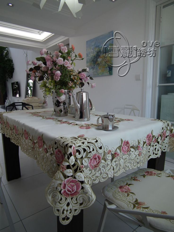 Beautiful rustic fashion quality embroidery fabric dining table cloth tablecloth cutout cover towel pink rose-inTable Cloth from Home & Garden on Aliexpress.com | Alibaba Group