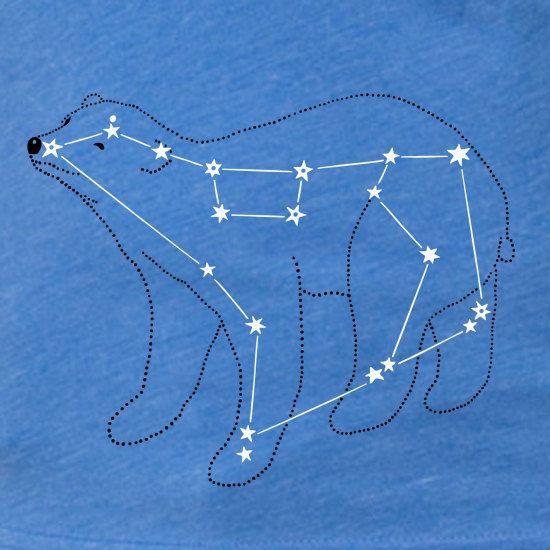 Women S Ursa Major Bear Constellation Shirt Lake Blue Short Sleeve Metallic Silver Foil Print