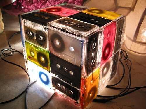 Retro 1980s cassette tape lamp done DIY craft style. Like totally awesome oh mah gaaawwwd!