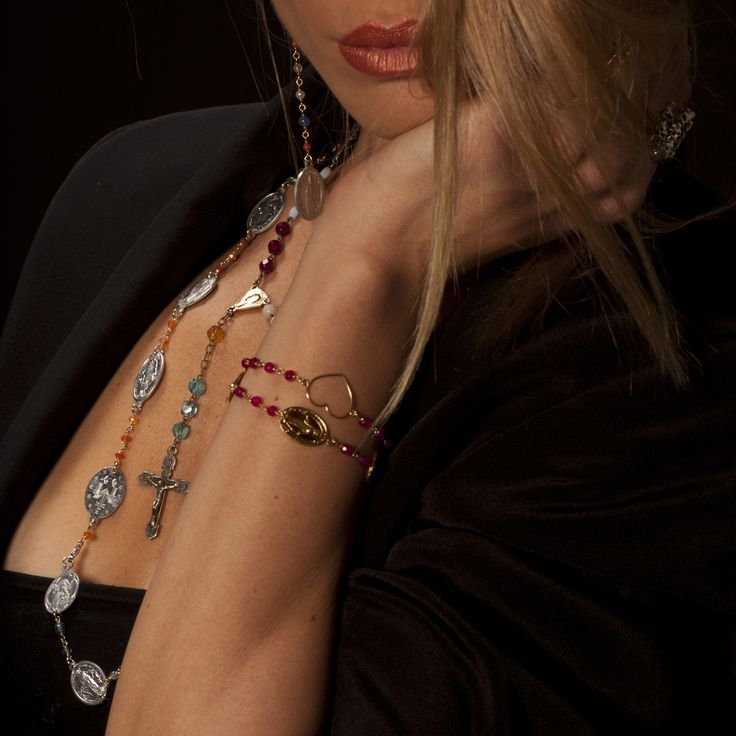 Rosary Necklace and Bracelet in 18ct gold and semi-precious stones...