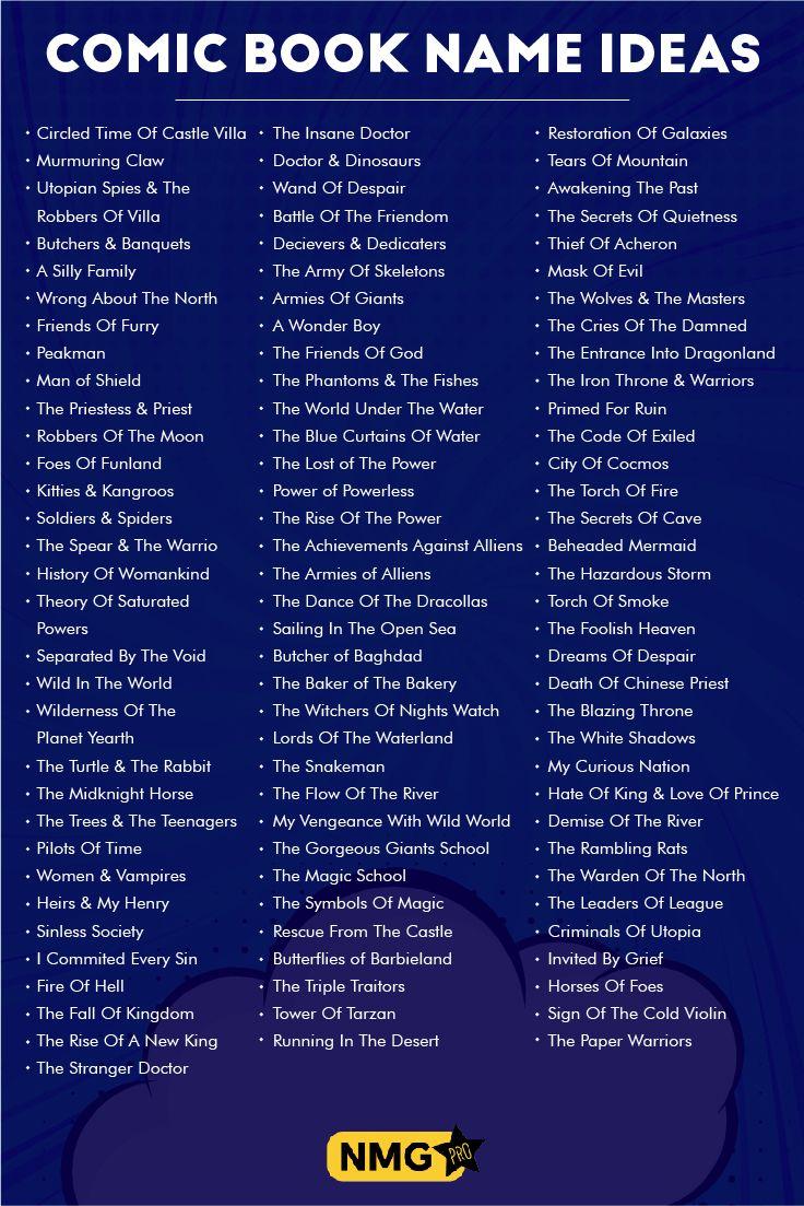 Comic Book Name Ideas Comic Book Name Generator Book Names Comic Books Name Generator
