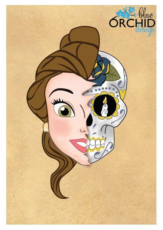 Disney Princess Belle Sugar Skull A4 210mm by BlueOrchidDesignsNZ, $30.00