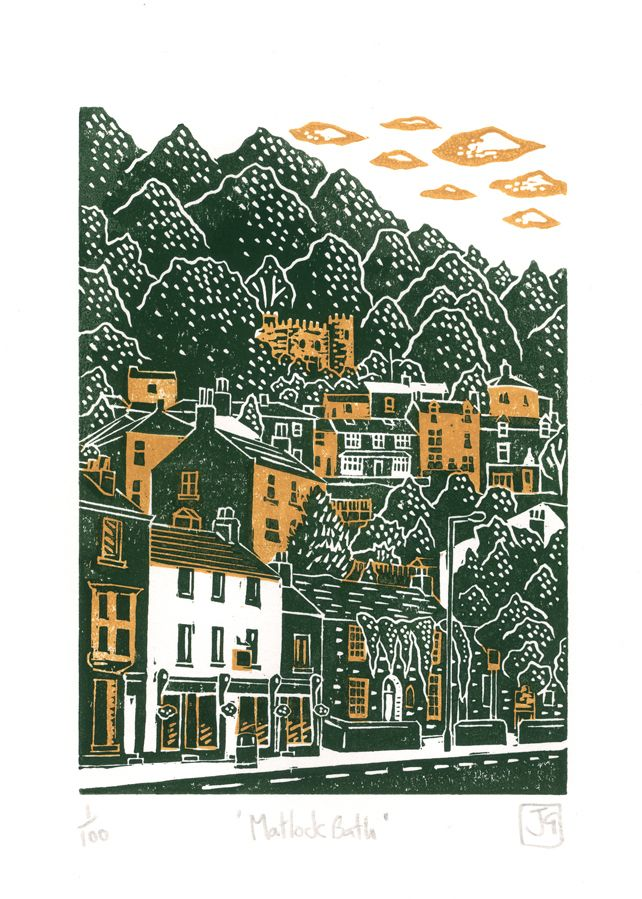 Matlock Bath Two Colour Linocut Print