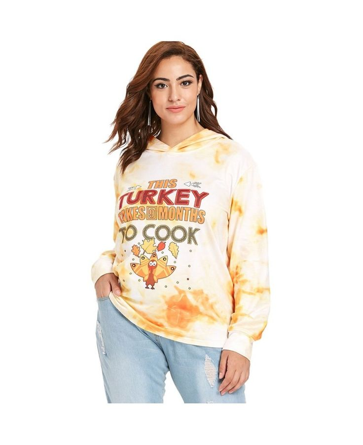 Plus Size Letter Print Thanksgiving Hoodie – Sun Yellow – 3A92070513
