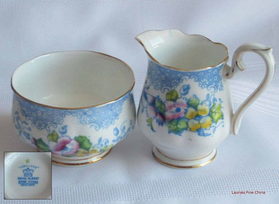 Royal Albert LOVELACE - Blue Bone China Creamer with Open Sugar Bowl