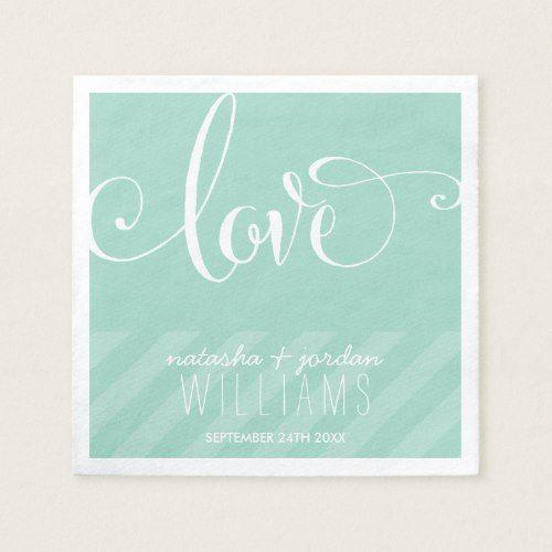 WEDDING TABLE DECOR elegant script type love mint Paper Napkin
