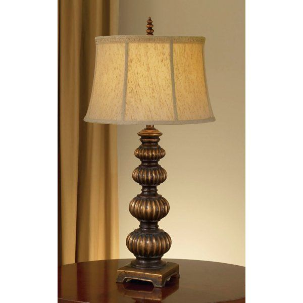 OAKCASTLE dark gold traditional table lamp with Shantung shade
