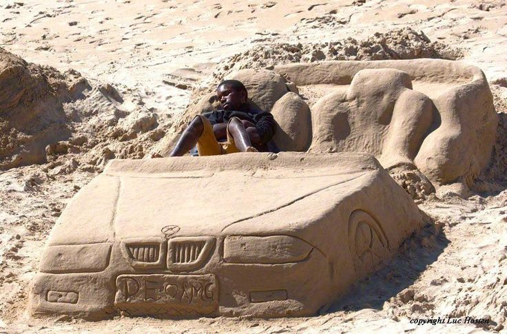 When I sleep, I do it in the passengers seat - my car sandcastle