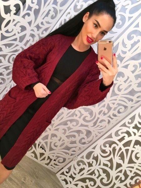 Одежда Кардиган женский вязанный с крупным орнаментом повседневный стиль темно-красный