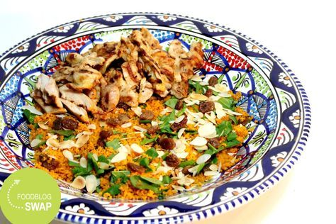 Couscous salade met kip en verse spinazie
