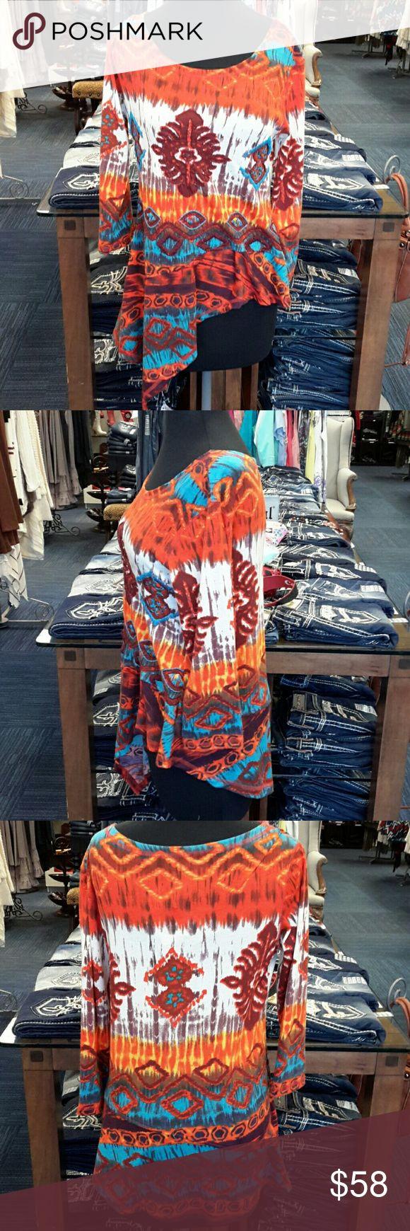Urban Mango Aztec Orange/Blue Blouse Urban Mango Aztec Orange/Blue Blouse, 65% Polyester, 35% Cotton Urban Mango Tops Blouses