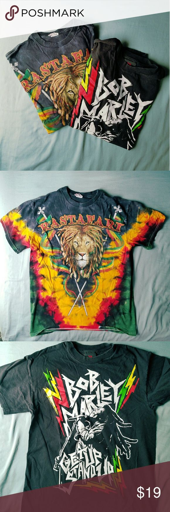 2 T-shirts Rastafari and Bob Marley Both men's size small, gently used. No defects.      Tags Jamaica rasta hippie 420 reggae Shirts Tees - Short Sleeve