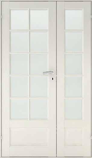 Franske døre, M13x20 - SP10 + SP5 + fyldning - Massiv - 82,5 + 39,8 x 194 x 4 cm. - Hvid - Anbefalet murhul 130 x 200 cm.