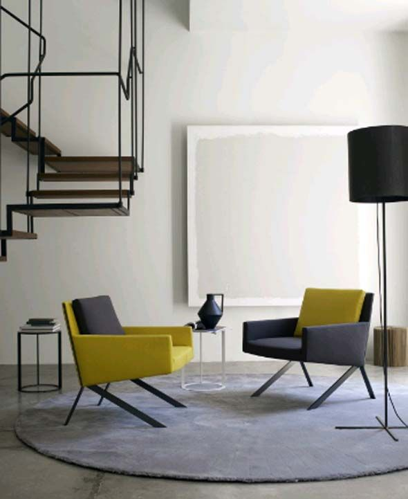 minimalist living room with yellow and grey | Theo for B  B Italia, '12