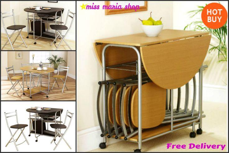 Extending Dining Table 4 Chairs Stowaway Drop Leaf Black Oak Kitchen Folding Set