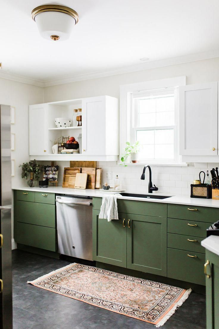 Olive green kitchen cabinetry #homerenovationideas (With ...
