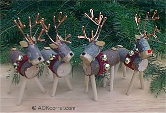 reindeer from wood log