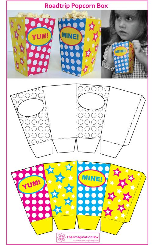 Have fun coloring and making your own popcorn box! Free printable download