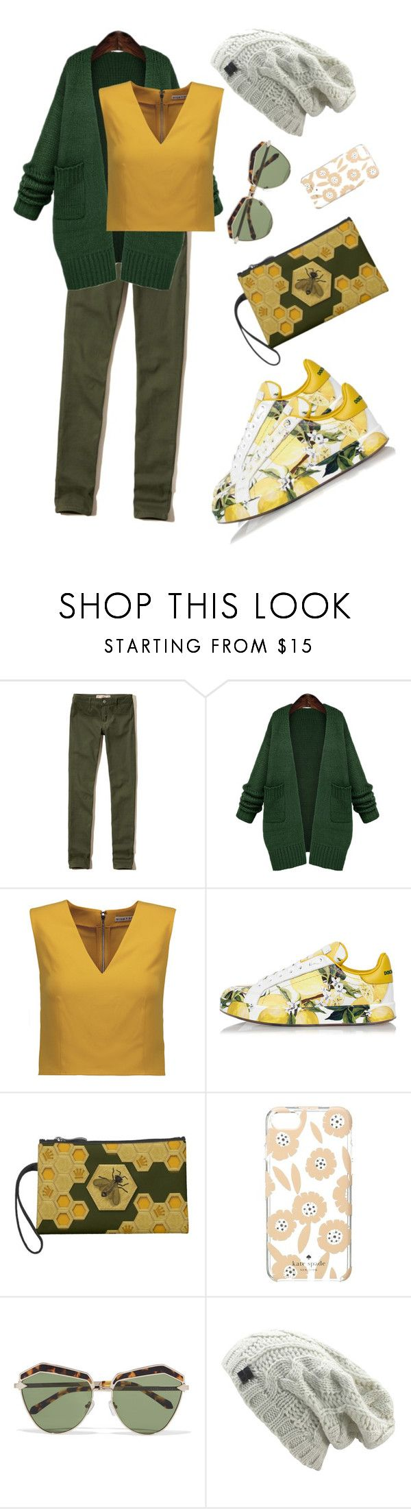 """Природный стиль"" by natalya-kuznetsova ❤ liked on Polyvore featuring Hollister Co., WithChic, Alice + Olivia, Dolce&Gabbana, Queen Bee, Kate Spade and Karen Walker"