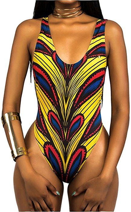 44990f442 Women s African Ankara Printed One Piece Thong Bathing Suit Sexy High Cut  Low Back Monokini Swimsuit (Large
