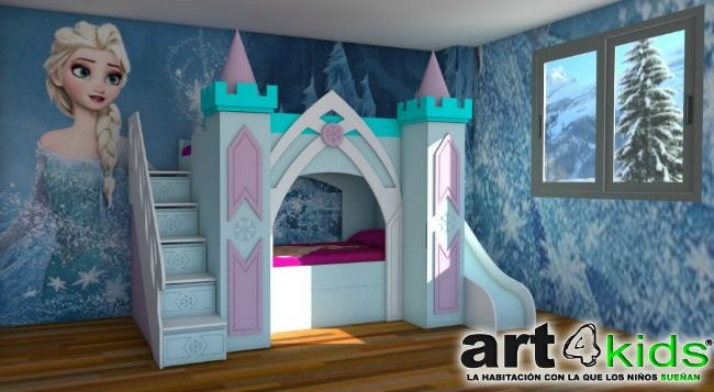 Cama Castillo Elsa: cama castillo de princesas modelo Elsa de Frozen, un trabajo de Art4kids, especialistas en habitaciones infantiles temáticas.