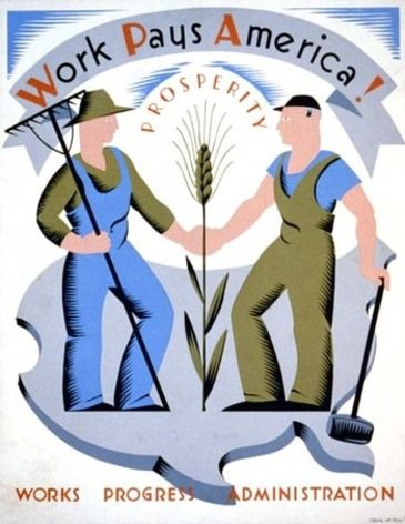 The Works Progress Administration (WPA) was the largest New Deal agency, providing jobs, income, food, clothing and housing to people during the Depression. This poster was commissioned by the WPA in the 1940s. Source: Found in Mom's Basement