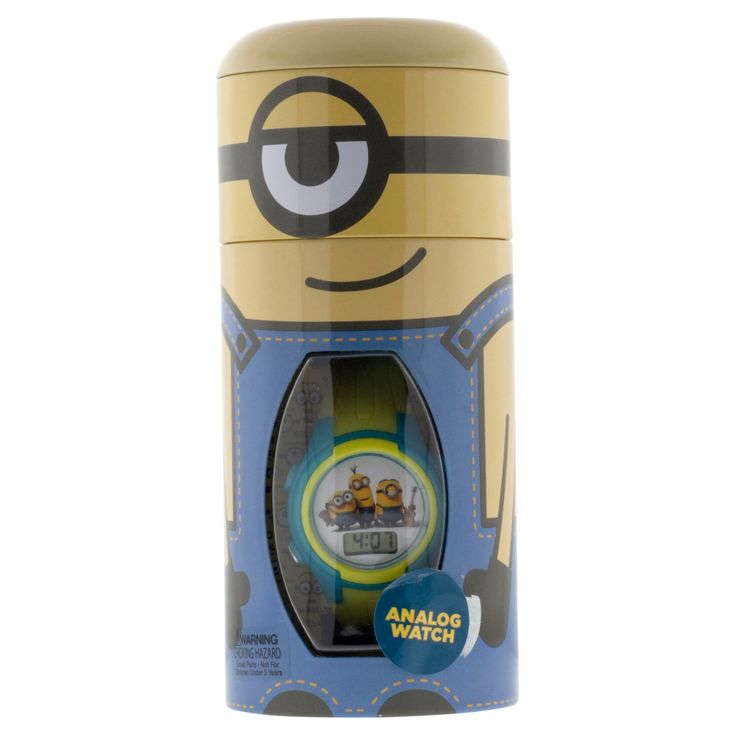Kid's Minions Watch with Cylinder Tin Coin Bank, Kids Unisex, Size: not applicable, Yellow