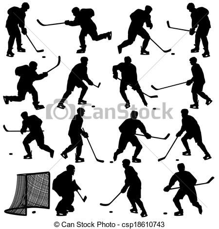 Vector - Set of silhouettes of hockey player. Isolated on white. illustrations. - stock illustration, royalty free illustrations, stock clip art icon, stock clipart icons, logo, line art, EPS picture, pictures, graphic, graphics, drawing, drawings, vector image, artwork, EPS vector art